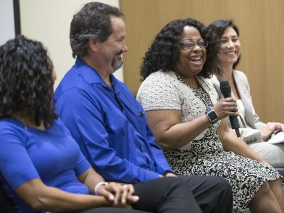 CSIIP Employer partners Sharon Collins and Andy Davenport of Jacobs Technology, Gail Brown with NASA Langley Research Center and Patty Chang from APEX Systems share a chuckle during the Employer Panel of our Career Seminar.